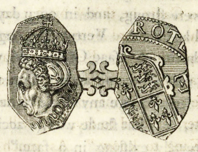 facsimile of 18th-century engraving of a rare Elizabethan coin fragment