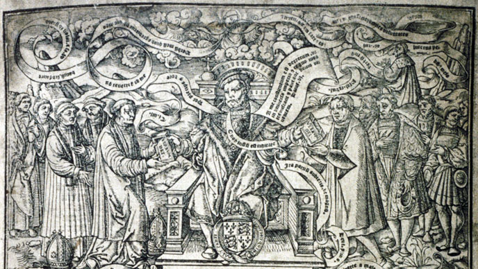 facsimile of detail from mid-16th-century engraved title-plate