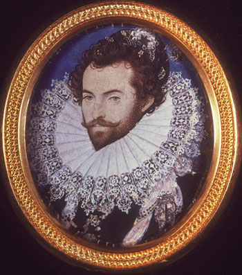 facsimile of late-16th-century watercolor portrait